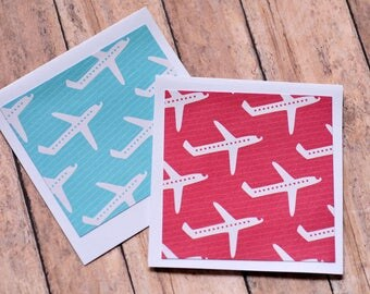 Airplane Mini Cards // Set of 4 // Blank Cards // Enclosure Card // Gift Card Envelope // Thank You Card // Scrapbooking // Advice Card