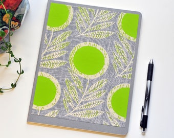 Green Flower Journal // Lined Journal // Cahier Journal // Gray // XL // Bullet Journal // Planner