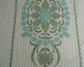 """Reserve for Roxie: Vintage quilt cross stitch Snow Flower by Paragon  twin size 60"""" x 89""""  mid-1970's   two color scheme"""
