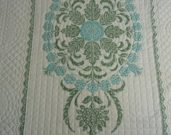 "Vintage quilt: cross stitch Snow Flower by Paragon  twin size 60"" x 89""  mid-1970's   two color scheme"