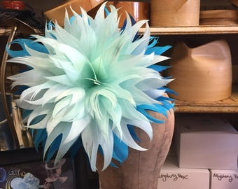 Ombré Blue Giant Hand Crafted Feather Flower.  Structured Feather Flower, Feather Flower, Kentucky Derby, Chef Bizzaro, Racing Fashion.