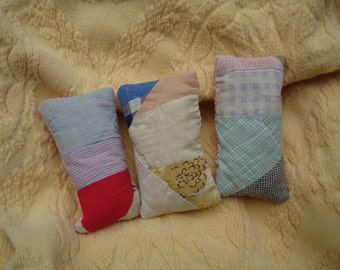 Old Quilt Sachets---Set of 3---OOAK---Ready to ship---Free Shipping