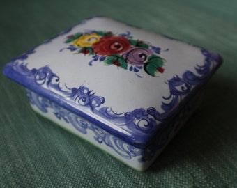 Portuguese ceramic trinket box / butter dish blue floral