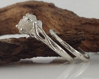 NEW!! Twig Engagement Ring, 14k Yellow, White, Green or Rose Gold Raw Uncut Rough White Rough Diamond by Dawn Vertrees