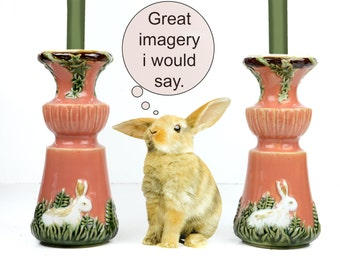 candlesticks, rabbit, Candle Holders, ceramic, vintage dining, green, peach, vines, moss green, large, cottage chic, rabbit, raised design