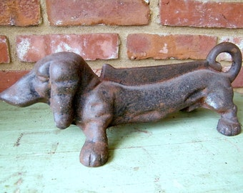 Vintage Rusty Cast Iron Reproduction Dachshund Dog Boot Scraper