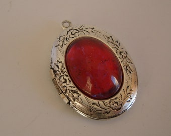 Oval Victorian Photo Locket Ox Silver Brass With 18x13 Recess Center Pendant.