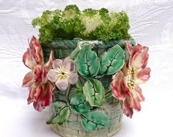 Shabby MAJOLICA French Antique Planter - Astonishing Hand made Majolica Art Nouveau Majolica Jardinière - Barbotine - Flower - Shabby Chic