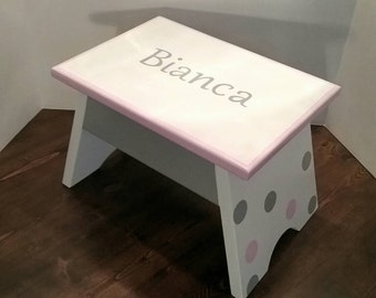 Toddler Bathroom - Pink and Grey - Footstool - Kids Footstool - Bathroom Step Stool - DREAMATHEME - Toddler Girls - Step Stool - Gift