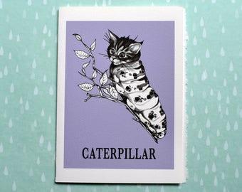 "Caterpillar Greeting Card, Cat + Caterpillar Hybrid Animal, 5x7"" Blank Card, Portland OR, Funny Cat Gift"