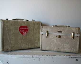 Vintage Samsonite Luggage Set ~ Train Case ~ Small Suitcase ~ Marble ~ Two Piece