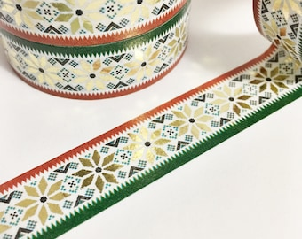 Christmas Red and Green Washi Dark Green and Red Stars Sweater Knit Design Gold Foil Washi Tape 11 yards 10 meters 15mm
