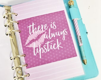 40% Off Sale Personal Size Purple Ombre Striped Lipstick There is Always Lipstick Makeup Laminated Dashboard Filofax Medium Kikki k Planner