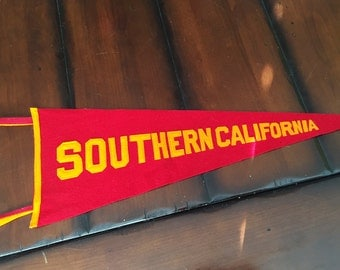 Vintage College Pennant USC Trojans Southern California Red and Gold College Pennant
