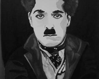 CHARLIE CHAPLIN Hand Painted Oil Painting 18 x 24
