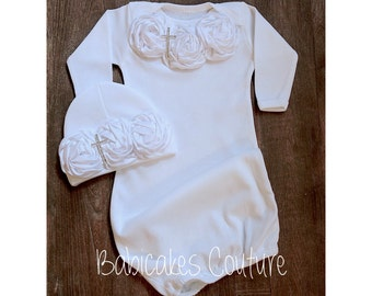 Newborn Girl After Christening Outfit, Christening Layette Gown & Beanie with White Rosettes and Rhinestone Cross Baptism, Naming Dedication