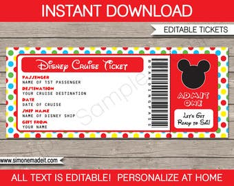 Disney Cruise Ticket - Mickey Mouse - Surprise Gift Ticket - Printable Cruise Ship Boarding Pass - INSTANT DOWNLOAD with EDITABLE text