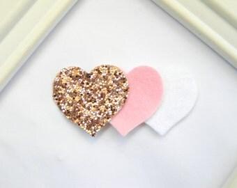 Glitter Heart Hair Clip - Valentine Hair Clip - Rose Gold Heart Hair Clip - Valentine Clippie - Heart Clippie - Girls Hair Clip