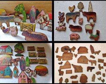 Wooden Farmyard, Antique,Wooden Farm Toy Play Set, 31 items, Rare Farmyard Animal Farm, Animal Farm, Hayloft, Vintage Wooden Barn