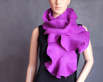 Felted long collar neckwarmer scarf  violet, purple, lilac for girls Ready to ship