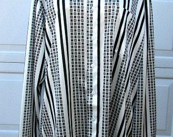 vintage 70s mens disco shirt black white stripe pattern shirt long sleeve L 16 16.5 kingsport