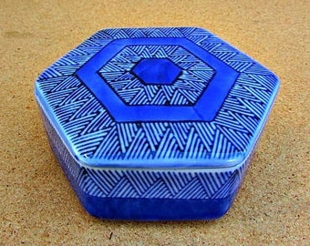 vintage 70s blue ceramic starbust covered trinket box polygon ff japan fitz & floyd