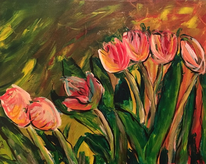 Flowers Blooming 16x20 painting on canvas.