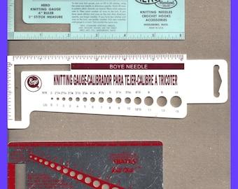 Knitting Needle Crochet Hook Stitch Gauges CHOICE Vintage