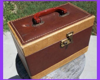 Antique Wood Train CASE Luggage Tweed & Leather Cosmetic Toiletries Sewing Box