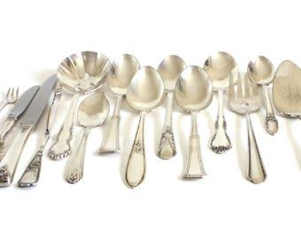 Silverplate Serving Pieces Vintage Antique Silverware Wedding Flatware Serving Spoons Fork Pie Server Sugar Jelly Olive Fork