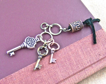 Bookmark - Keys: Silver, Copper & Brass Plated with Black Leather, Antiqued Chain and Copper Plated Pewter Barrel Bead