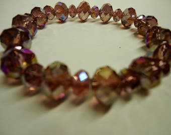 Bracelet, Champagne Crystal Bracelet, Stretchy bracelet with Swarovski crystals