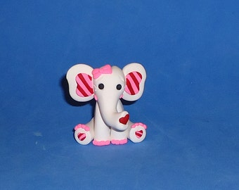 Polymer Clay White Valentine Elephant with Pink Toenails