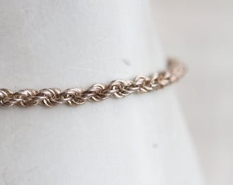 Rope Chain Bracelet - Sterling Silver  - Vintage Jewelry
