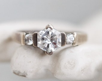 Art Deco Engagement Ring - Antique Sterling Silver Trinity Ring Size 10 - Diamonique cubic zirconia