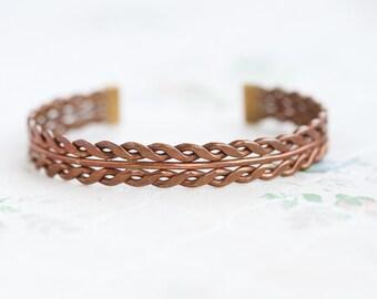 Copper Cuff Bracelet - Twisted Boho Bracelet - Vintage Primitive Jewelry