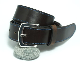 Handmade belt from brown cow hide, blue thread thick genuine leather belt, men belt buckle is solid brass, personalized, gift ideas