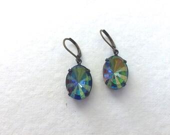 Oval Vitrail Glass Jewel Earrings, Czech Glass, Oxidized Brass, Lever Back Ear Wires