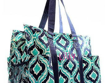 Monogram Diaper Bag,Personalized Diaper Bag, Baby Bag, Baby shower Gift, in Ikat Print Teal and Navy