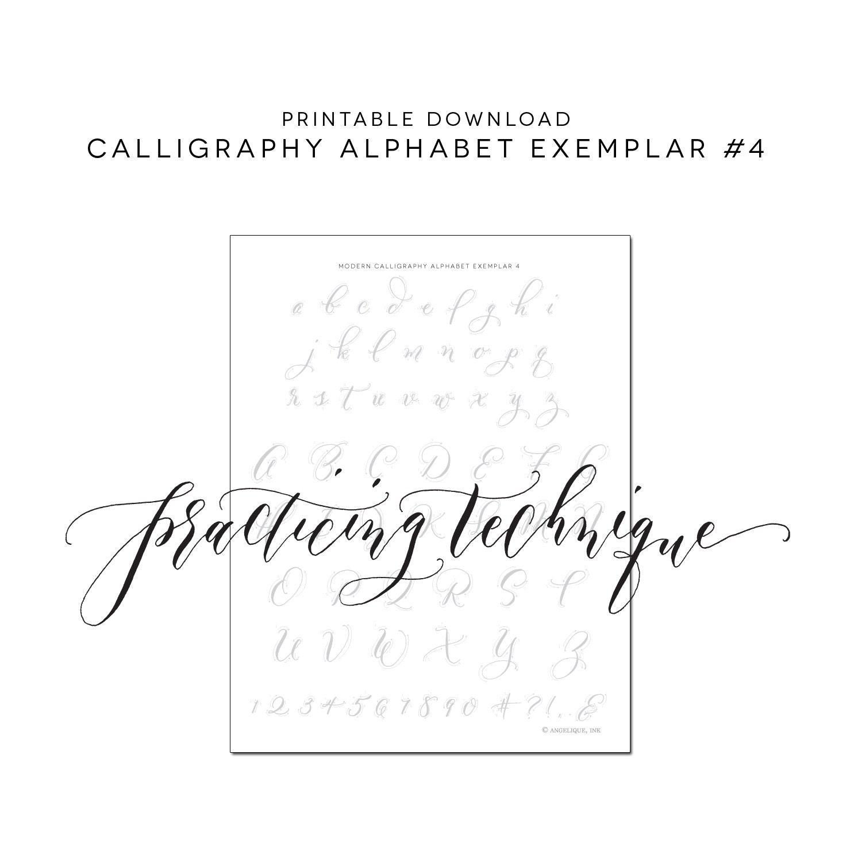 Calligraphy alphabet practice printable worksheet