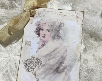 XL Gift Tag Set Vintage Beauty ( Set of 6 ) Notecards, Stationery, Scrapbooking, Journals, Gift Item, Gift Wrapping
