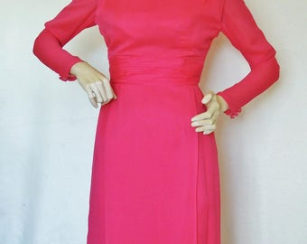 Vintage 60's 70's  Coral / Hot Pink Chiffon Party Dress