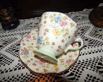 Vintage Foley tea cup and saucer 1850 Made in England Bone China