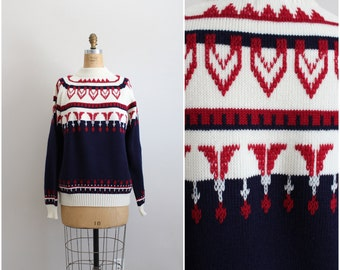 80s Fair Isle Knit Sweater / Chunky Knit Sweater / Jumper / JC Penney Sweater / Size S/M