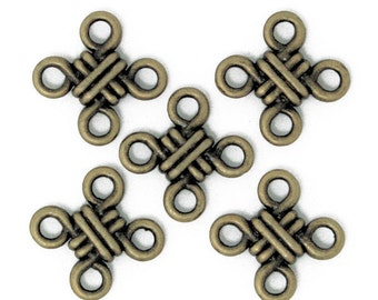 16pcs-4 loop Celtic Knot charm-4 ways Antique brass tone celtic knot charm