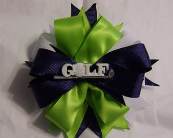 Green/Blue/White Hairbow with Golf Center