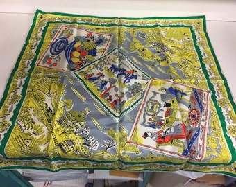 Stunning Vintage Colonial Themed Ladies Scarf Silk Polyester Bold Colors