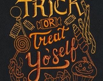 Trick or Treat Yo' Self Halloween Embroidered Flour Sack Hand/Dish Towel