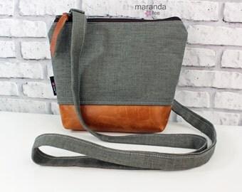 BRI Messenger Bag  - Charcoal Linen-  READY to SHIP Adjustable messenger Zipper Purse