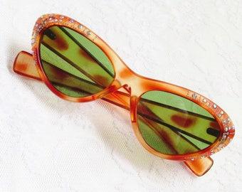 Vintage Cateye Faux Tortoiseshell Rhinestone Sunglasses Italy 1950s Italian